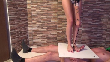 Cock Trampling Torture on Cockbox with Cumshot Under Cruel Stomping Feet
