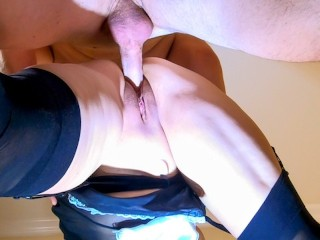 French maid milf takes two huge dildos in...
