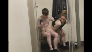 Screen Capture of Video Titled: Two Pump Chump tries to Keep Up And Just Fills Her Pussy Early inside Store