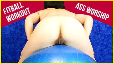 FitBALL nude workout squats fitness ass worship
