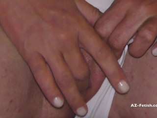 Pee in white panties and out of panties on balcony when people around