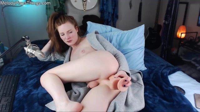 chill redhead smokes  and plays with herself.. melody lanes cam show 1