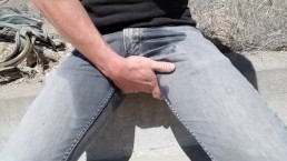 Public outdoor pissing in jeans and a self golden shower