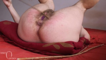 Undies stuffed hairy pussy caned