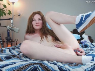 melody cums in white ankle socks and blue vans while playing with her toy