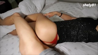 guy fucked by a beauty, big ass, and red panties after a party BFFS