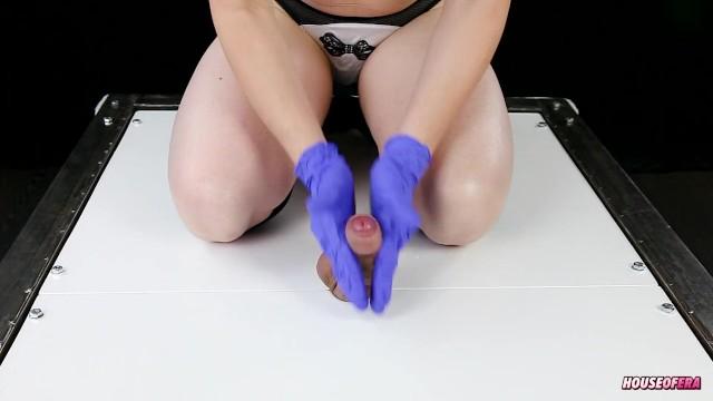 Ballbusting in gloves with Spitting Handjob CBT POV SPIT 4