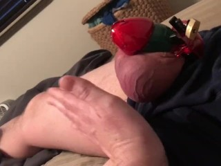2 weeks in chastity has his balls so blue and swollen, he Begs to cum