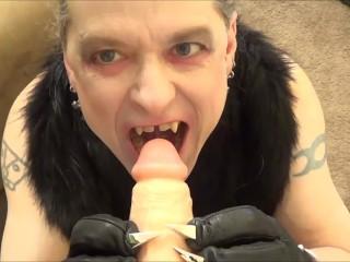 Crazy vampire tranny biting your cock pov...