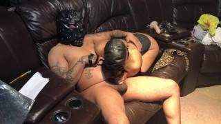 Sex slave dildo action restraint sex slave in training bdsm latex mask collar around her neck
