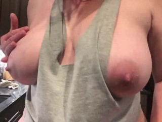 Wife shakes giant tits on camera blows kiss...