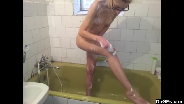 Skinny Amateur Babe Showers And Shaves 17