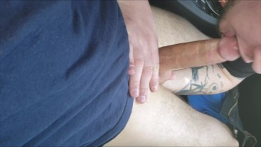 """Hung 8"""" Tatted Bi Redneck Bro Gets Deepthroated & Cock Worshiped Public Car"""