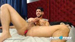 Petes Evans on Flirt4Free - Latino w Huge Uncut Cock Enjoys OhMiBod Torture