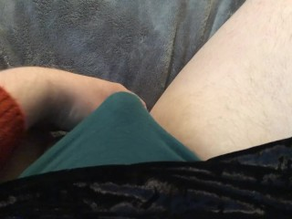 Sissy plays with tiny cock through skirt...