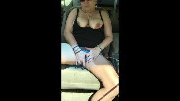 Milf smoking, posing and playing in car and on walking path! Risky public!!