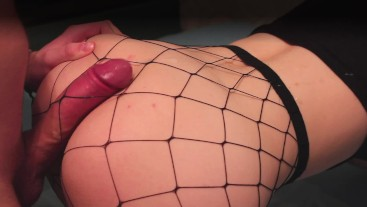 Hot babe in stockings enjoys Ass Cumshot..