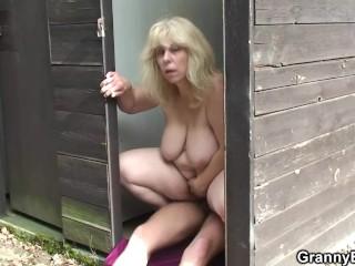Blonde old granny ride stranger's cock public