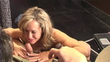 Brandi Love sucking and stroking cock