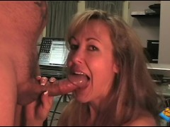 Big-tit milf Brandi Love deepthroats and gets tittyfucked in the office