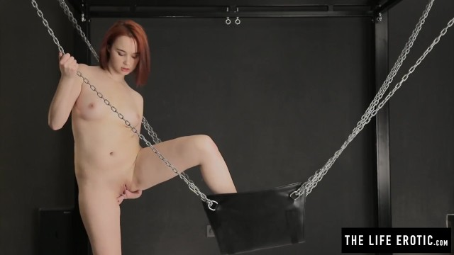 Red hair green dress erotic lactation Shaved redhead cumming hard with feet in chains