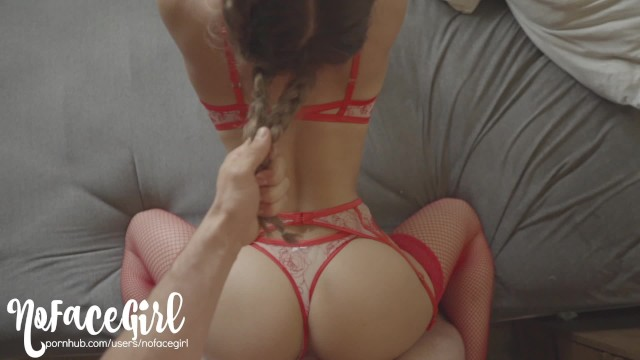 Sext lingerie The red lady - fit amateur babe noface girl fucks in red sexy lingerie