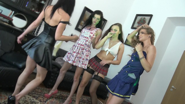 Hired me as an amateur cameraman in this 4 girls porn party here what I got