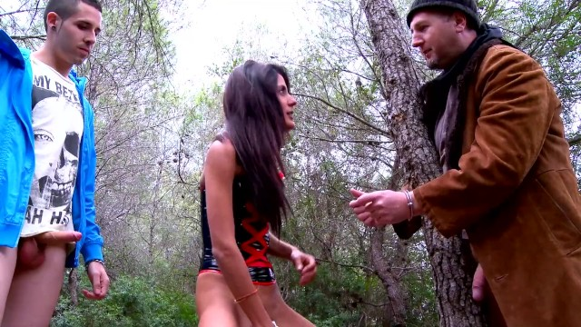 2 sexy latina teens tie up 2 dudes in the woods and fuck them hard 19