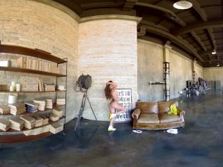 Tattooed busty russian brunette babe teasing in UHD VR video