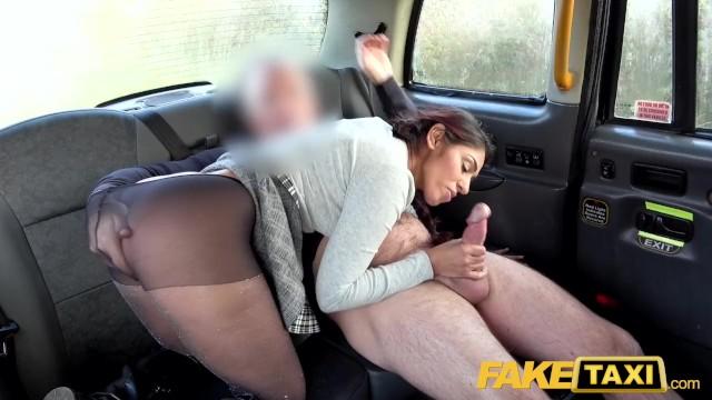 Fake Taxi British babe Sahara Knite gives great deepthroat on backseat