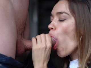 Beautiful Secretary makes Hot Blowjob to her boss after office party