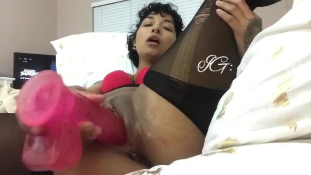 Milf fucks her creamy wet pussy