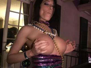 Nadia Nitro Flashes Her Big Tits Off Our Mardi Gras Balcony