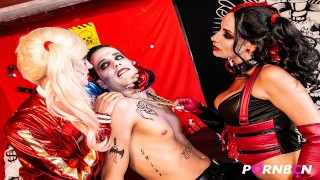 4K Trio Cosplay 2 Harley Quinn quer brincar com o pau grande do Joker