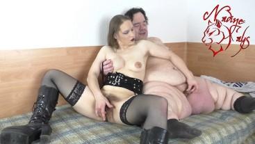 Hairy Teen Masturbate together with fat dwarf - 130cm Midget