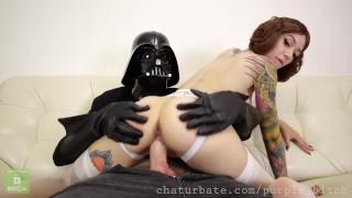 Darth Vader destroys Leia's pussy Purple Bitch cosplay