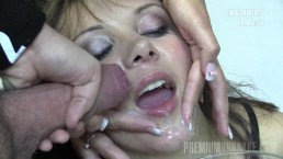 Premium Bukkake – Michelle Swallows 74 Huge Mouthful Cumshots