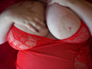 Cozy alone time in red dress bbw...
