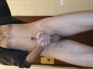Pt. 2 public outside park restroom. Getting loud and hott! Big dick male.