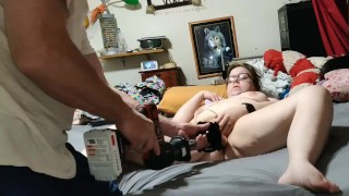 BBW has multiple orgasms with a fucking machine...and with her real cock
