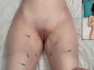 Fun With Needles - Play Piercings On Her Vagina & Thighs - Needle Play