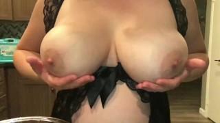 Horny milf shakes huge boobs
