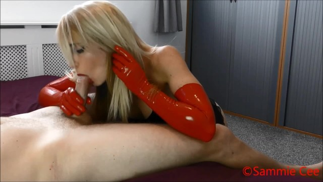 Long latex gloves Red long latex gloves hand blowjob preview