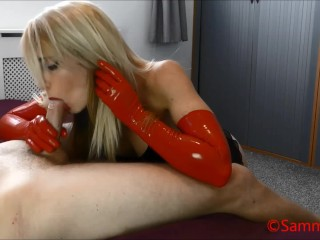 Red Long Latex Gloves Hand & Blowjob Preview