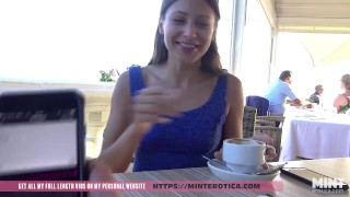 Screen Capture of Video Titled: Talia Mint tests remote controlled toy in a public bar