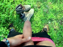 Uncut cock piss with erection and cumshot on used boots POV Outdoor