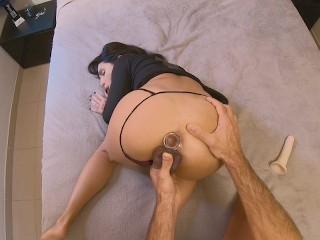 First time double penetration with dildo for Danika