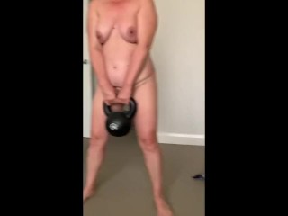 MILF Mothers Day Nude Kettlebell & Yoga Poses