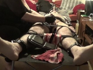 Strapped down femdom cock torture featuring a pistol PART 1 OF 2