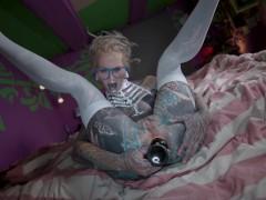 Tattoo modified dreadlocks skinny teen BDSM anal fist and stretch training